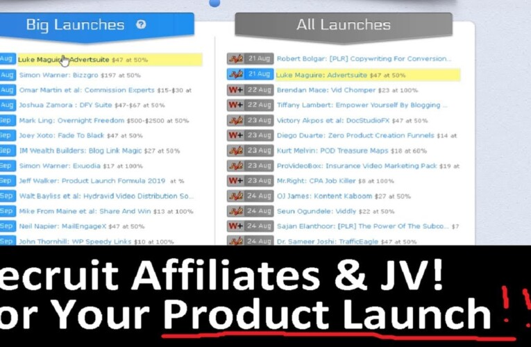 How to Recruit Affiliates For Your Product Launch | Get on MUNCHEYE JV Product Launch  Calendar List